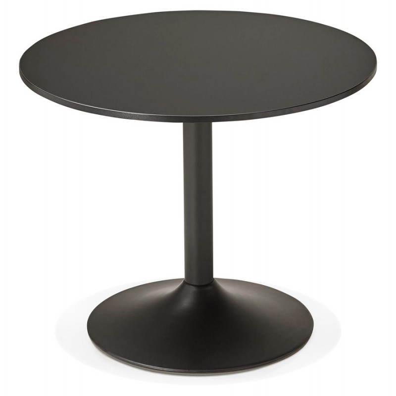 Mesa de comedor o escritorio diseño madera NILS y metal pintado (O 90 cm) (negro) - image 28404