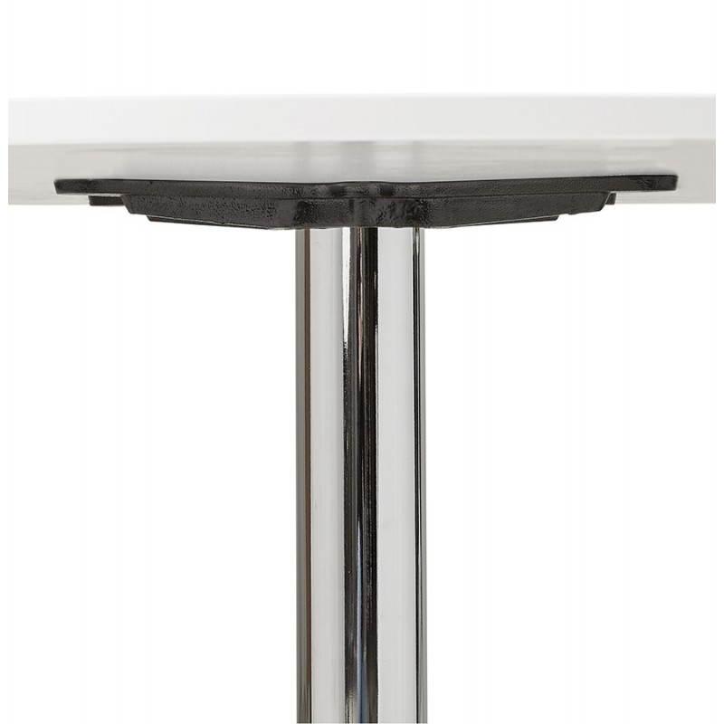 Table de bureau ou repas design ronde ASTA en bois et métal chromé (Ø 120 cm) (blanc) - image 28421