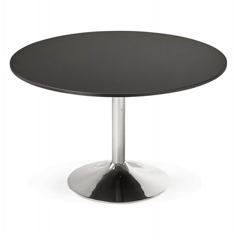 Table de bureau ou repas design ronde ASTA en bois et métal chromé (Ø 120 cm) (noir) - image 28437