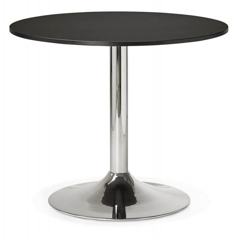 Table de repas ou bureau ronde design NILS en bois et métal chromé (Ø 90 cm) (noir) - image 28445