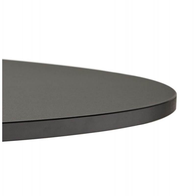 Table de repas ou bureau ronde design NILS en bois et métal chromé (Ø 90 cm) (noir) - image 28450