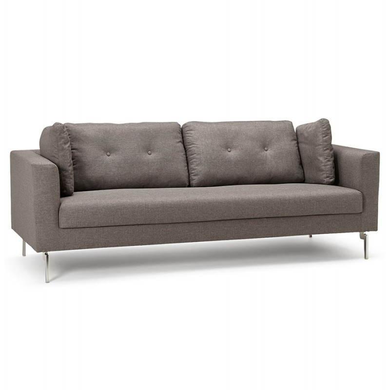 Canapé fixe moderne 3 places IRINA en tissu (gris foncé)