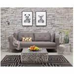 Moderno sofá fijo 3 lugares a tela de IRINA (gris oscuro)