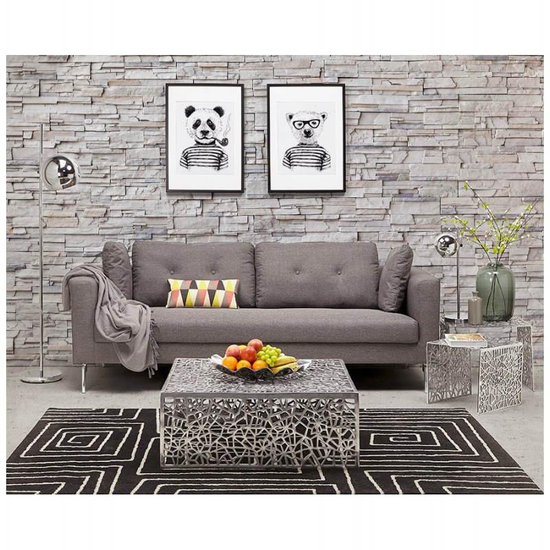 Moderno sofá fijo 3 lugares a tela de IRINA (gris oscuro) - image 28520