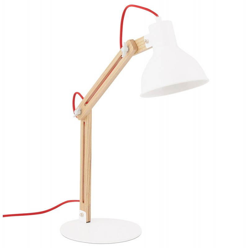 Lampe de table scandinave COTINGA MINI en bois et métal (blanc, naturel) - image 28578