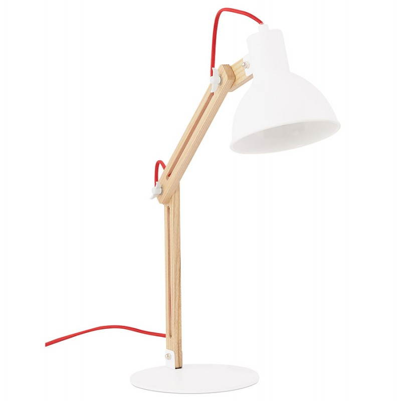 Lampe de table scandinave COTINGA MINI en bois et métal (blanc, naturel) - image 28584