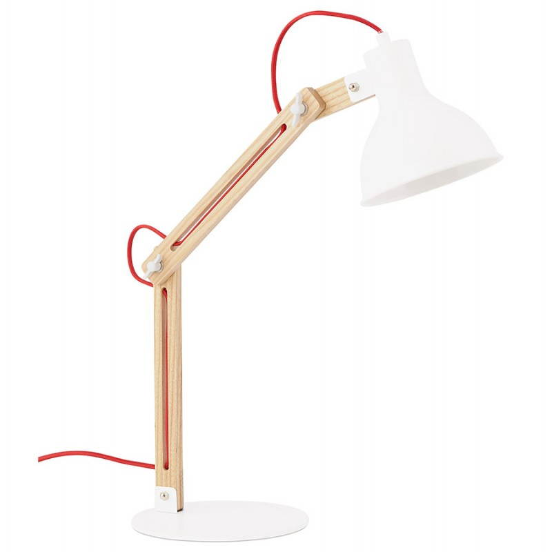 Lampe de table scandinave COTINGA MINI en bois et métal (blanc, naturel) - image 28585