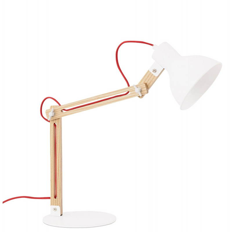 Lampe de table scandinave COTINGA MINI en bois et métal (blanc, naturel) - image 28587
