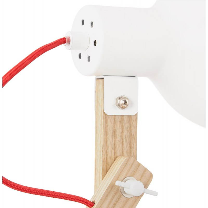 Lampe de table scandinave COTINGA MINI en bois et métal (blanc, naturel) - image 28592