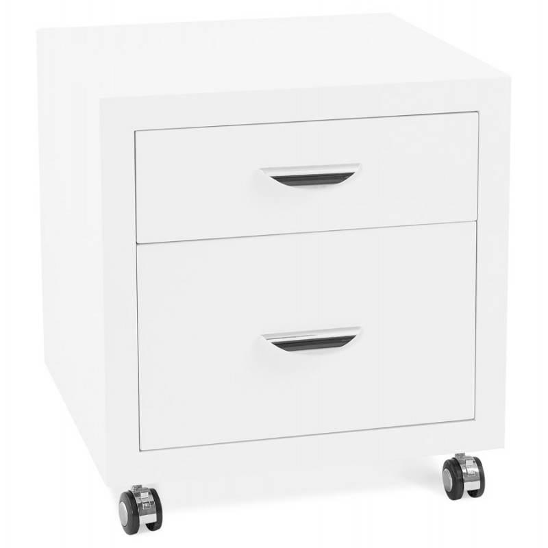 Caisson de bureau 2 tiroirs FOREST en bois (blanc laqué) - image 28733