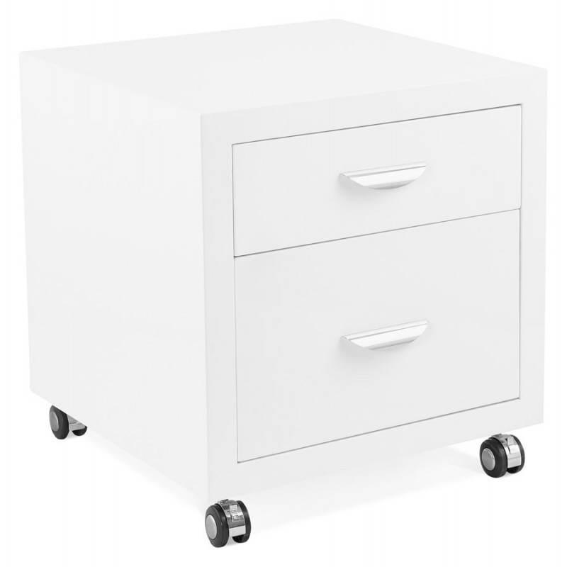 Caisson de bureau 2 tiroirs FOREST en bois (blanc laqué) - image 28734