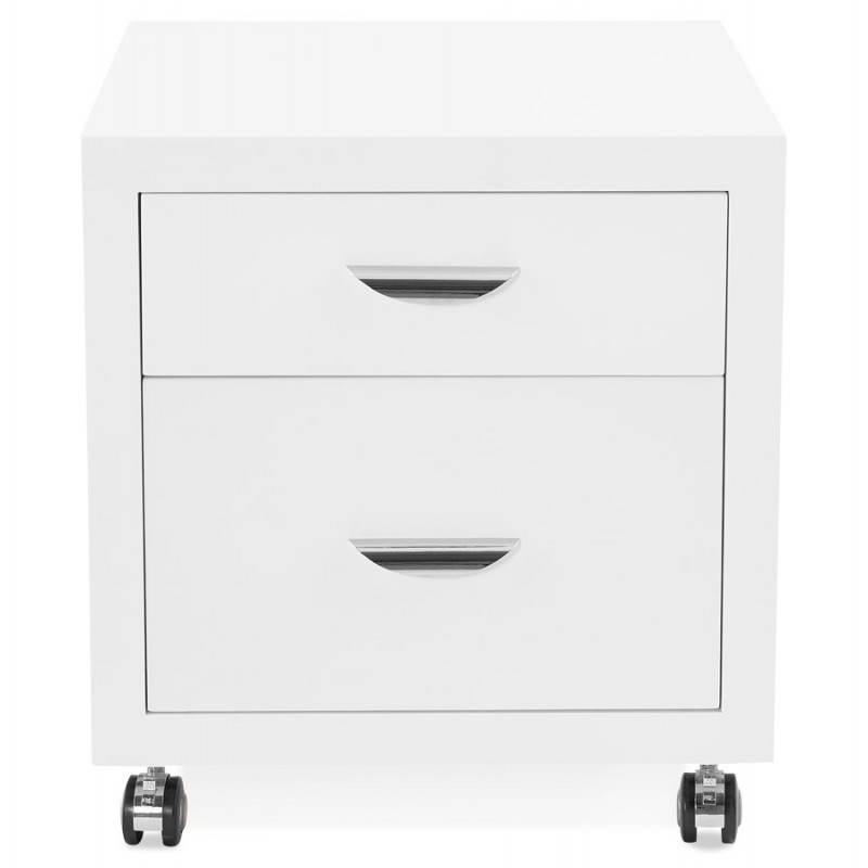 Caisson de bureau 2 tiroirs FOREST en bois (blanc laqué) - image 28735