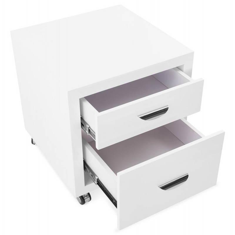 Caisson de bureau 2 tiroirs FOREST en bois (blanc laqué) - image 28738