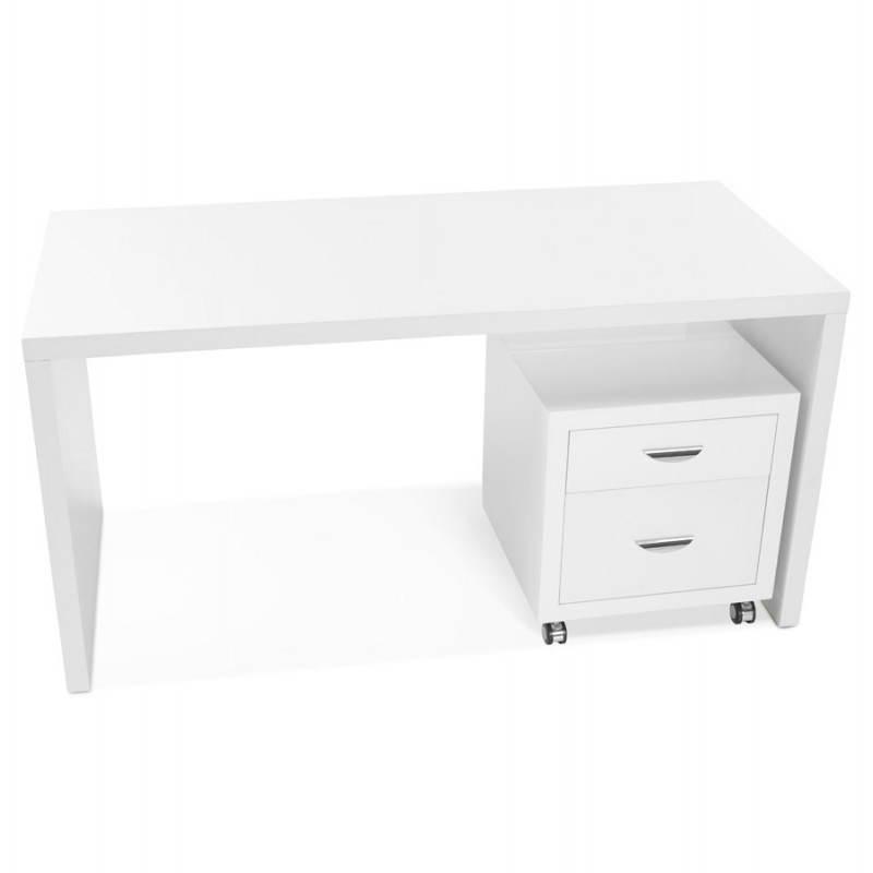 Caisson de bureau 2 tiroirs FOREST en bois (blanc laqué) - image 28748