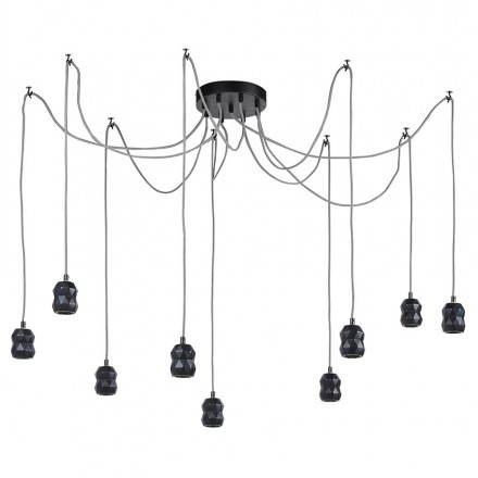 Suspension 9 douilles moderne GRAPPE (noir)