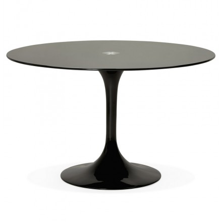 Table ronde design MARJORIE en verre (Ø 120 cm) (noir)