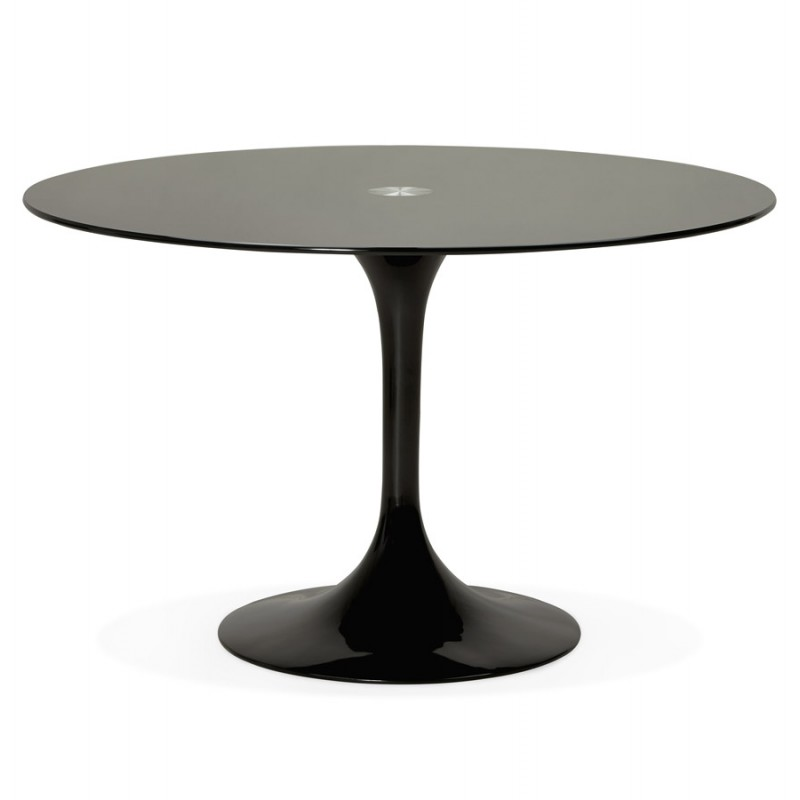 Table ronde design marjorie en verre 120 cm noir - Table ronde en verre design ...