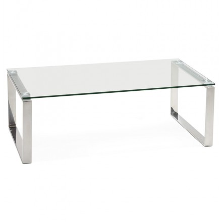 Table basse rectangulaire design BETTY en verre (transparent)