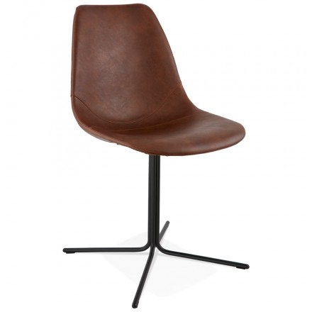 SFOE industrial Chair in polyurethane and painted metal (Brown, black)