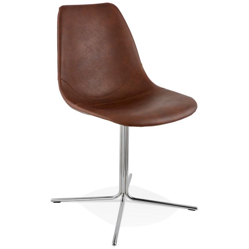 Chaise design OFEN en polyuréthane et métal chromé (marron, chrome) - image 29009