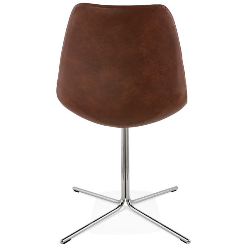 Chaise design OFEN en polyuréthane et métal chromé (marron, chrome) - image 29013