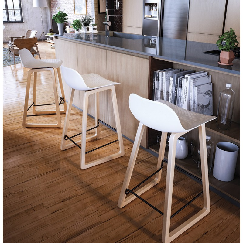 Tabouret de bar chaise de bar mi-hauteur scandinave SCARLETT MINI (blanc) - image 29074