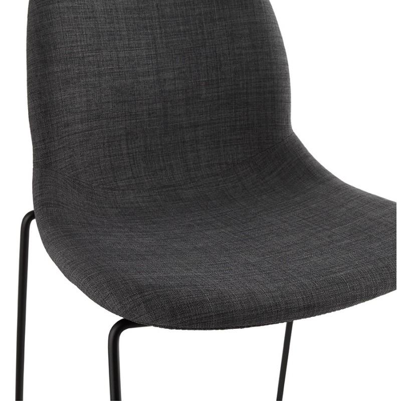 Tabouret de bar chaise de bar design empilable DOLY en tissu (gris foncé) - image 29080