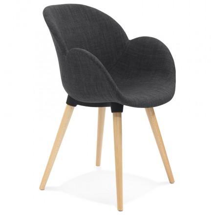 Estilo de silla de diseño escandinavo LENA en tela (gris oscuro)