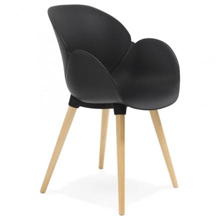 Progettazione di polipropilene di sedia stile scandinavo LENA (nero)
