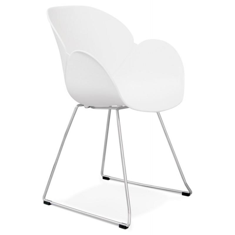 Chaise design pied effilé ADELE en polypropylène (blanc)