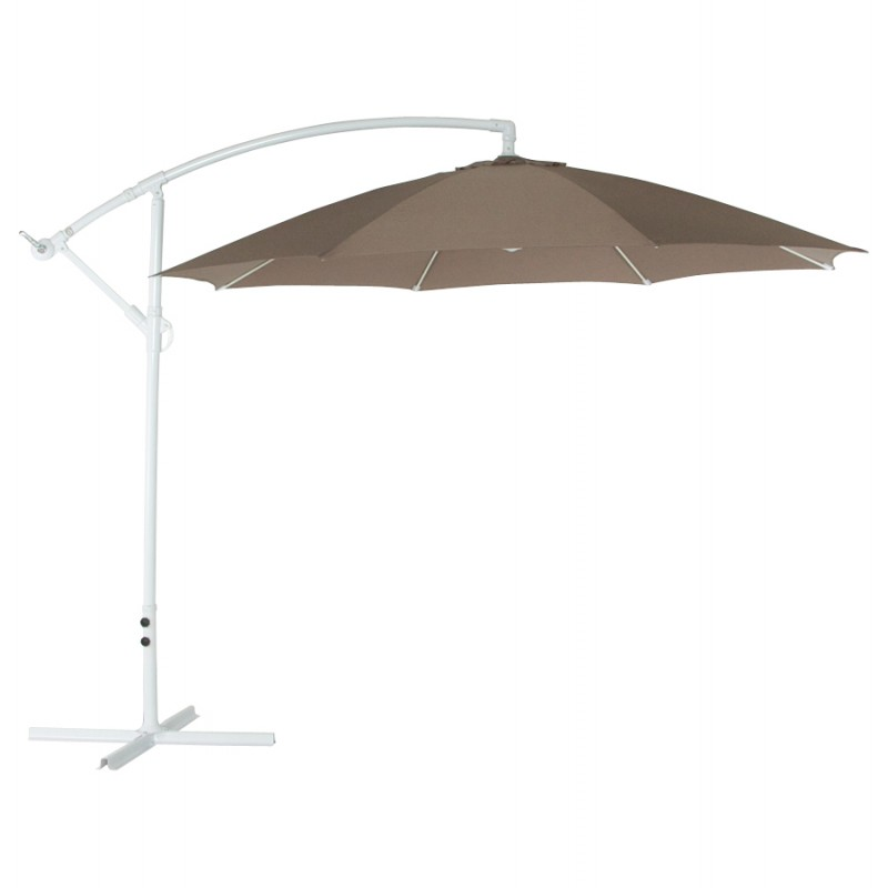 Parasol déporté octogonal ALICE en polyester et aluminium (taupe)