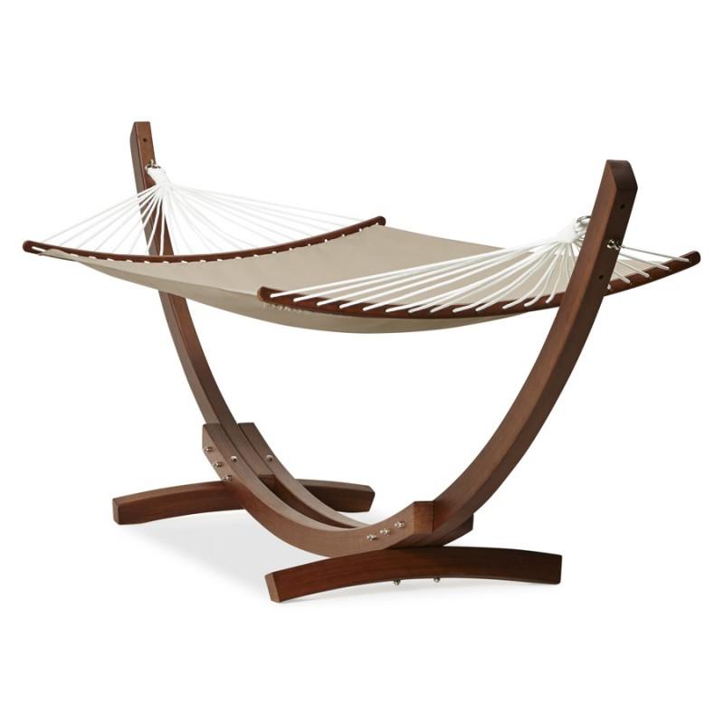 hamac pied arqu jules en bois et toile d montable taupe. Black Bedroom Furniture Sets. Home Design Ideas