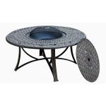 table-de-jardin-basse-ronde-moorea-aspect-fer-forge-noir