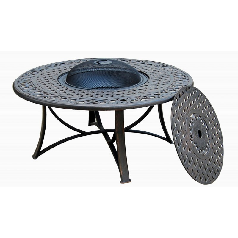Table de jardin basse ronde MOOREA aspect fer forgé (noir) - Table de jardin