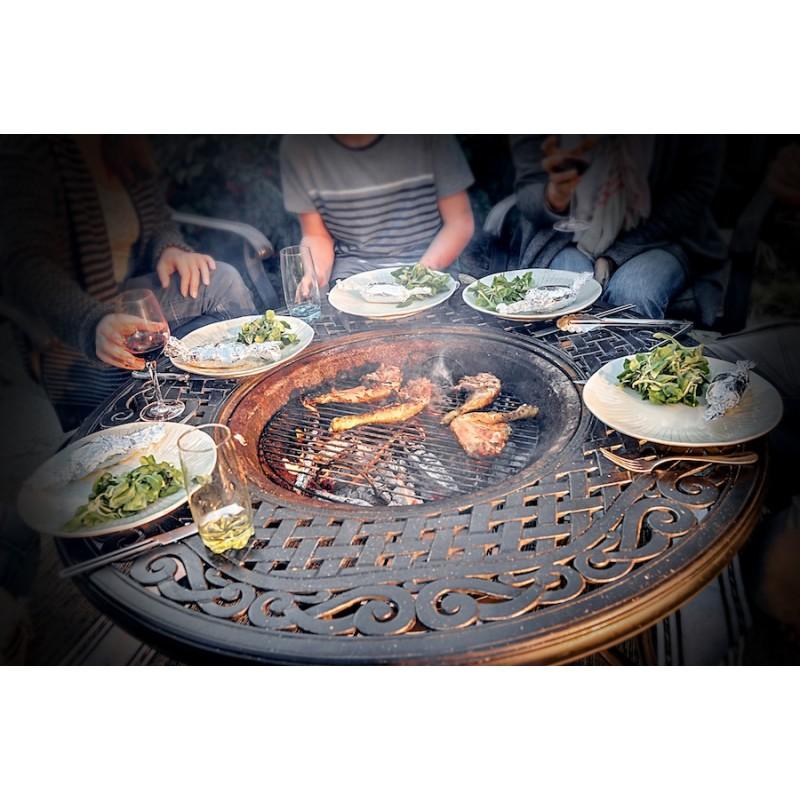 Table de jardin basse ronde MOOREA aspect fer forgé (noir) - image 29451