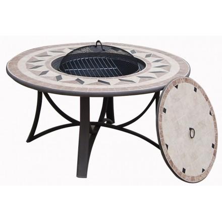 Tisch rund niedrige Garten Hawaii Aspekt des bearbeiteten Eisens und Mosaik  (schwarz, Beige) - AMP Story 4090