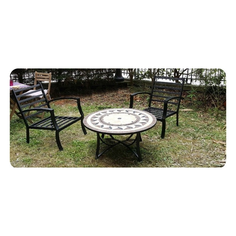 Table de jardin basse ronde hawai aspect fer forg et mosa que noir beige - Table de jardin fer forge ...