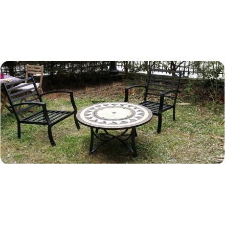 Salon de jardin table basse ronde + 4 chaises FILAE aspect fer forgé et  mosaïque (noir, beige) - AMP Story 4092