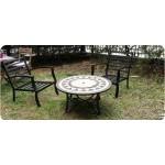 Salon de jardin table basse ronde + 4 chaises FILAE aspect fer forgé et mosaïque (noir, beige)