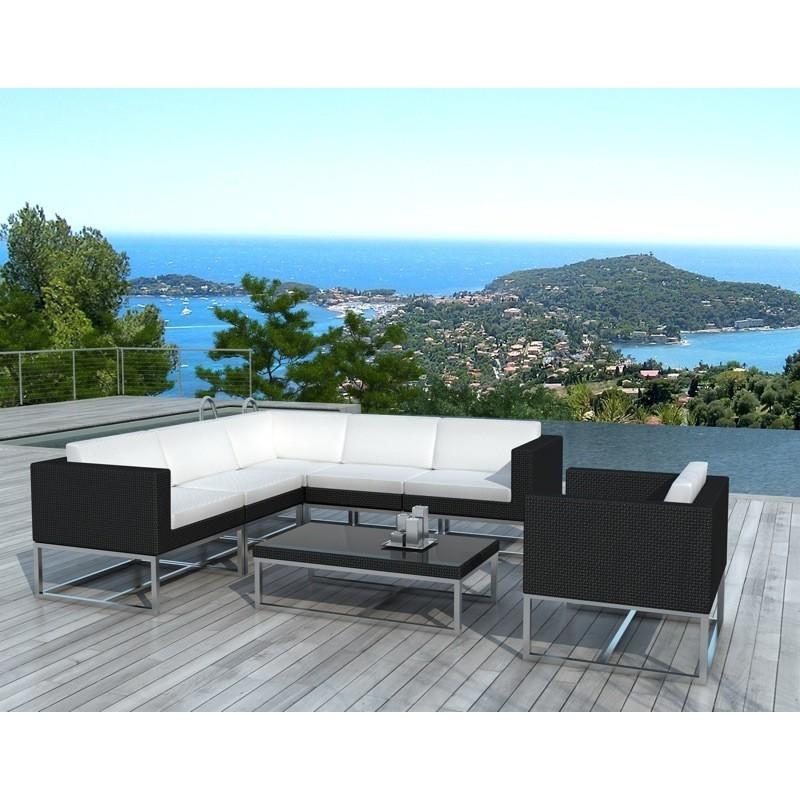 Muebles de jardín 6 plazas GUATEMALA tejida la resina (negro, blanco) -  Salón de jardín