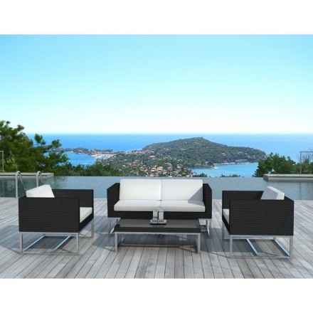 Garden furniture 4 seater Tanzania woven resin (black, white)