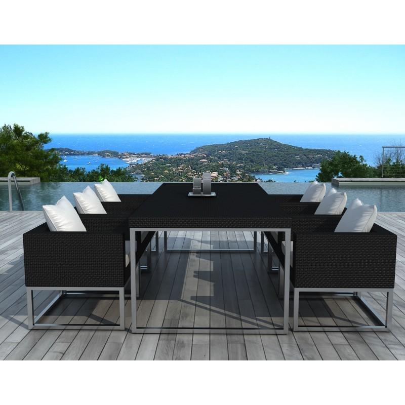 Table manger et 6 fauteuils de jardin pueblo en r sine tress e noir coussins blanc cru - Table de jardin moderne ...