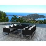 Table à manger et 6 fauteuils de jardin PUEBLO en résine tressée (noir, coussins blanc/écru)