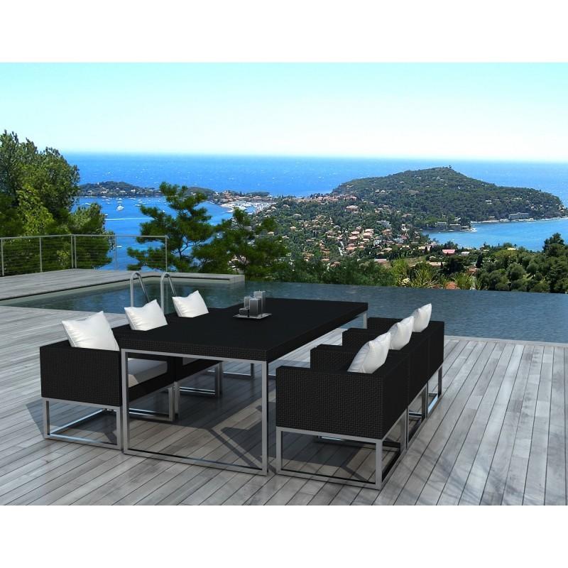 Table manger et 6 fauteuils de jardin pueblo en r sine for Jardin noir et blanc