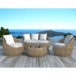 Salon de jardin 5 places DIEGO en résine tressée ronde (rotin, beige)
