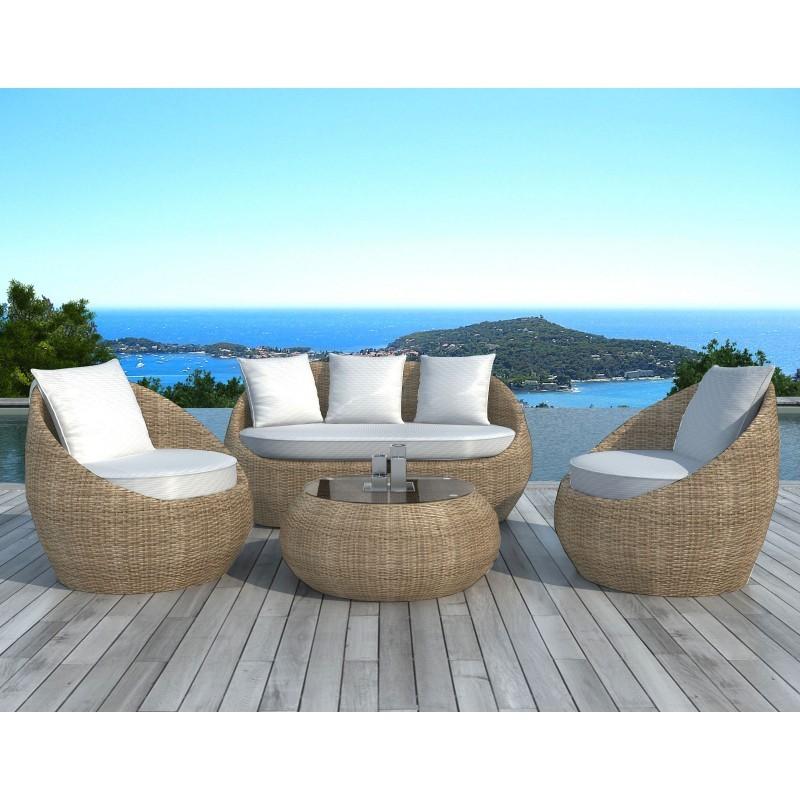 Salon de jardin 5 places DIEGO en résine tressée ronde (rotin, beige) -  Salon de jardin