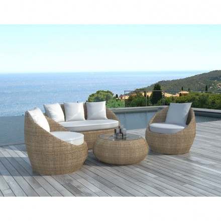 Garden furniture 5 places DIEGO round braided resin (rattan ...