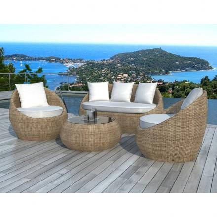Salon de jardin 5 places DIEGO en résine tressée ronde (rotin, beige ...