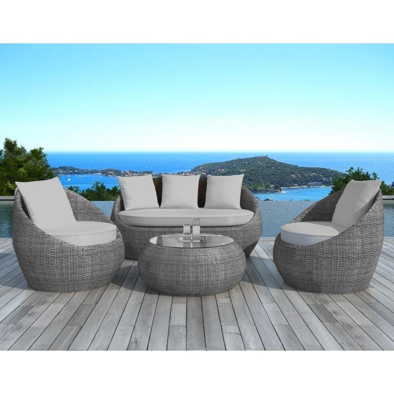 Salon de jardin 5 places DIEGO en résine tressée ronde (gris) - image 29800