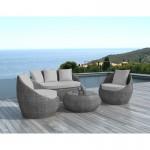 Salon de jardin 5 places DIEGO en résine tressée ronde (gris)